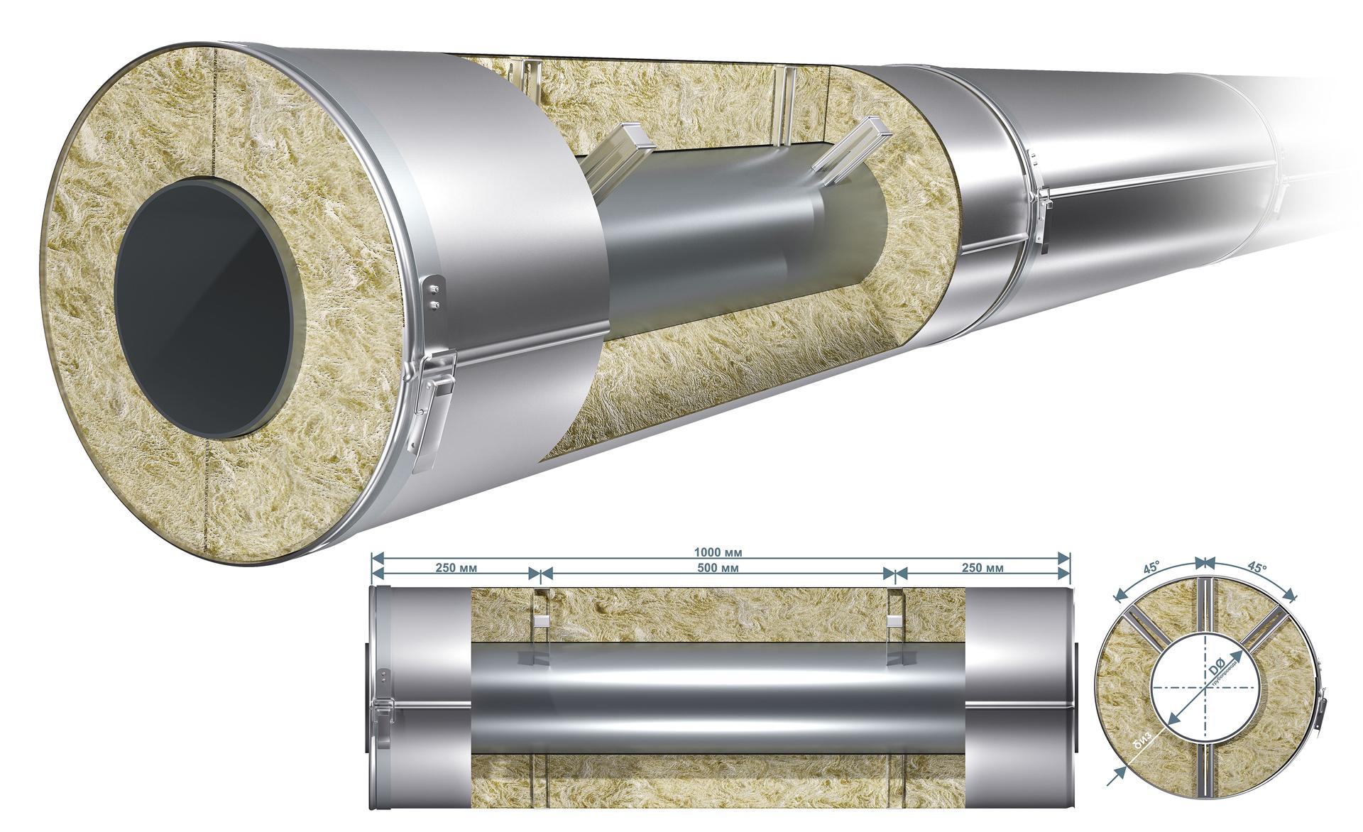 опорные скобы на теплоизоляционной конструкции
